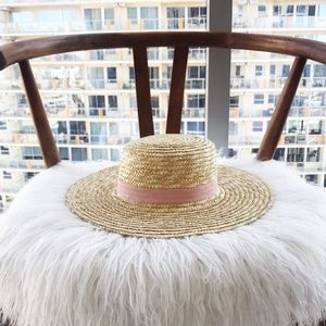 Straw Boater Hat With Blush Ribbon